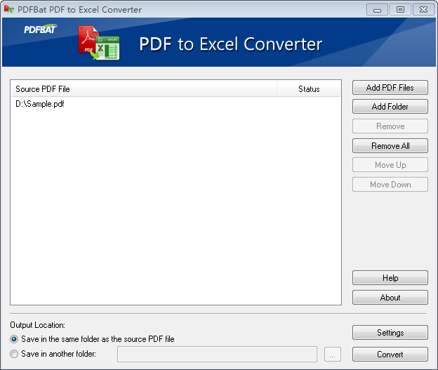 Click to view PDFBat PDF to Excel Converter screenshots