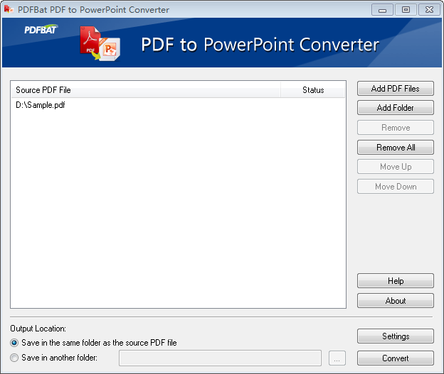 Convert PDF to PowerPoint document.